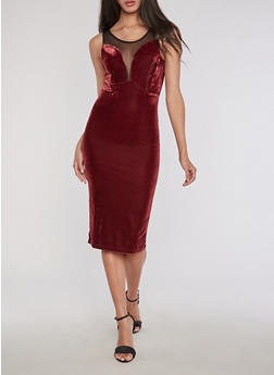 Velvet Mesh Insert Bodycon Dress - BURGUNDY - 3094038342992