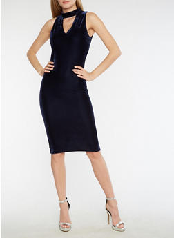 Velvet Keyhole Neck Bodycon Dress - 3094038342993