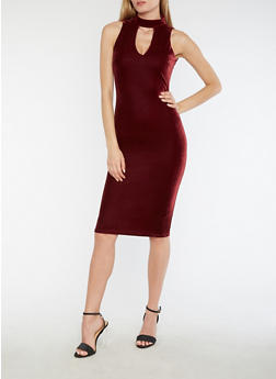 Velvet Keyhole Neck Bodycon Dress - BURGUNDY - 3094038342993