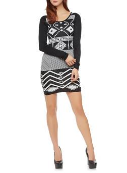 Long Sleeve Bodycon Sweater Dress with Tribal Print Design,BLACK/WHITE,medium