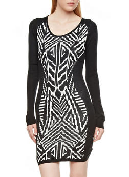 Long Sleeve Bodycon Sweater Dress with Mirrored Tribal Front,BLACK/WHITE,medium