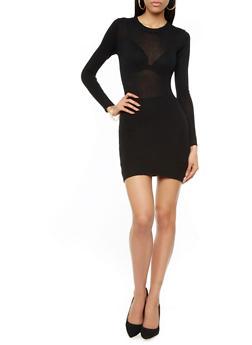 Mini Bodycon Sweater Dress With Ribbed Details,BLACK,medium