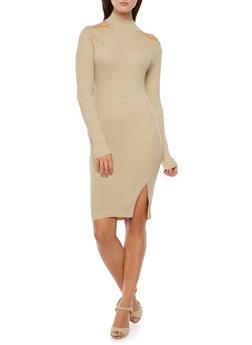 Cold Shoulder Dress in Ribbed Knit - 3094038346352