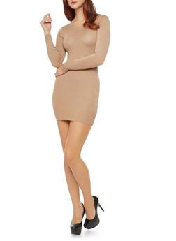 Bodycon Sweater Dress With Ribbed Neckline and Hem,CAMEL,medium