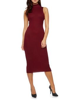 Rib Knit Bodycon Dress with Turtleneck - 3094038346354