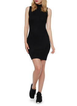 Sleeveless Bodycon Dress in Ribbed Knit - BLACK - 3094038346355
