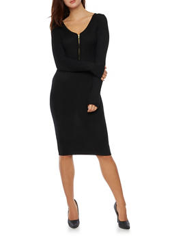 Ribbed Midi Dress with Zip Neck - BLACK - 3094038346356