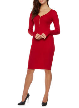 Ribbed Midi Dress with Zip Neck - 3094038346356