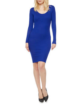 Bodycon Dress with Scoop Neck and Lattice Back - 3094038346360