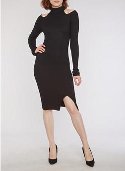 Rib Knit Mock Neck Cold Shoulder Dress - BLACK - 3094038347350