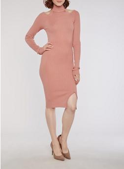 Rib Knit Mock Neck Cold Shoulder Dress - 3094038347350
