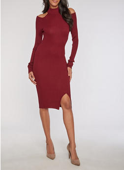 Rib Knit Mock Neck Cold Shoulder Dress - 3094038347350