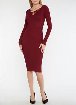 Ribbed Knit Criss Cross Neck Bodycon Dress - 3094038347351