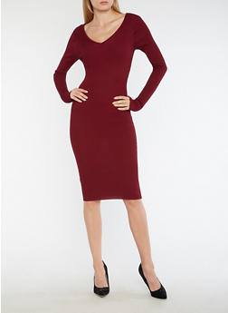 Ribbed Knit Caged Midi Bodycon Dress - 3094038347352