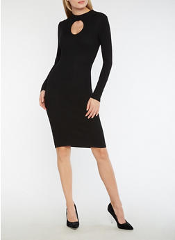 Ribbed Knit Keyhole Bodycon Dress - BLACK - 3094038347354