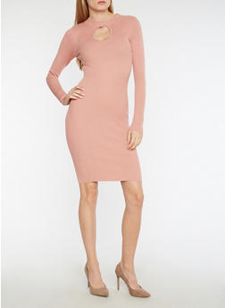 Ribbed Knit Keyhole Bodycon Dress - 3094038347354