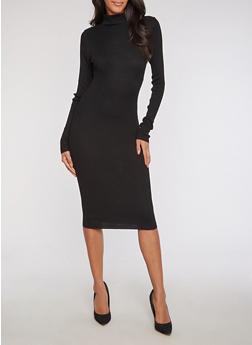 Ribbed Knit Funnel Neck Bodycon Dress - BLACK - 3094038347355