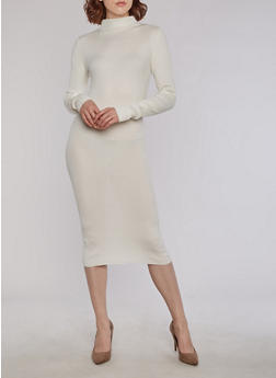 Ribbed Knit Funnel Neck Bodycon Dress - IVORY - 3094038347355