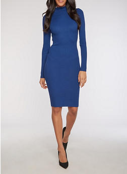 Ribbed Knit Funnel Neck Bodycon Dress - 3094038347355