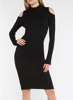 Rib Knit Cold Shoulder Dress with Back Keyhole - BLACK - 3094038347359