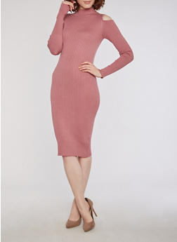 Rib Knit Cold Shoulder Dress with Back Keyhole - 3094038347359