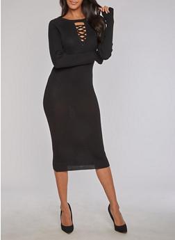 Rib Knit Caged Keyhole Neck Bodycon Dress - BLACK - 3094038347362