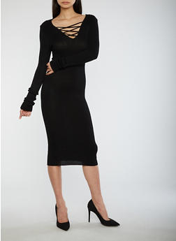 Criss Cross Neck Sweater Dress - BLACK - 3094038347363