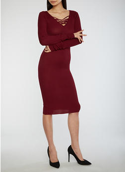 Criss Cross Neck Sweater Dress - 3094038347363