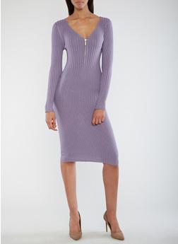 Half Zip Ribbed Knit Dress - 3094038347366
