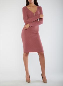 Half Zip Ribbed Knit Dress - MESA ROSE - 3094038347366