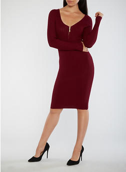 Half Zip Ribbed Knit Dress - 3094038347366
