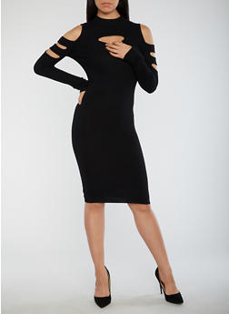 Slit Ribbed Knit Bodycon Dress - 3094038347370