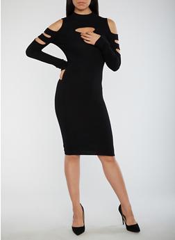 Slit Ribbed Knit Bodycon Dress - BLACK - 3094038347370