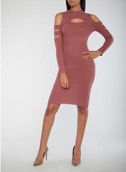 Slit Ribbed Knit Bodycon Dress - MESA ROSE - 3094038347370