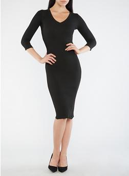 Open Back V Neck Sweater Dress - BLACK - 3094051060004