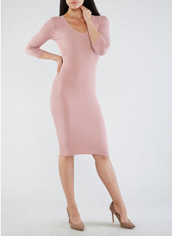 Open Back V Neck Sweater Dress - 3094051060004