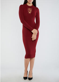 Lace Up Grommet Ribbed Knit Sweater Dress - 3094051060005