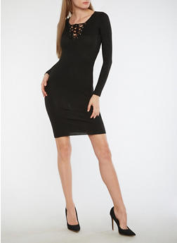 Long Sleeve Lace Up Sweater Dress - 3094051060006