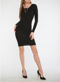 Long Sleeve Lace Up Sweater Dress - BLACK - 3094051060006