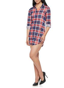 Plaid Shirt Dress with Three Quarter Sleeves - NAVY/RED - 3094051061441