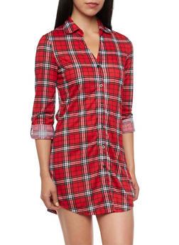 Plaid Shirt Dress with Three Quarter Sleeves - RED - 3094051061441