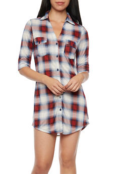 Plaid Shirt Dress with Button Front - RED/NAVY - 3094051062440