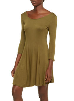 Jersey Shift Dress with Boat Neckline - 3094054265817