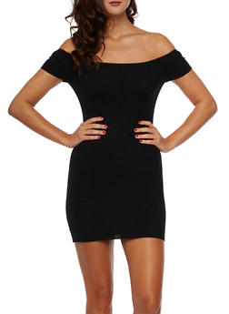 Off the Shoulder Mini Dress with Rib Knit - BLACK - 3094054265818