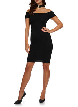Rib Knit Off The Shoulder Bodycon Dress - 3094054268725