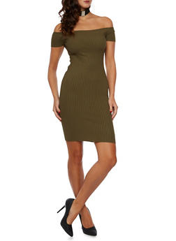 Bodycon Dress in Rib Knit - OLIVE - 3094054268725