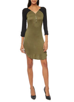 Jersey Knit Color Block Dress with Zip Neckline - 3094058750032