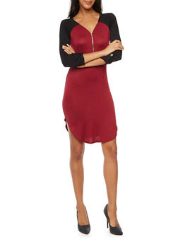 Jersey Knit Color Block Dress with Zip Neckline - BURGUNDY - 3094058750032