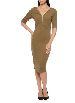 Textured Knit Midi Dress with Zippered Neckline - 3094058750033