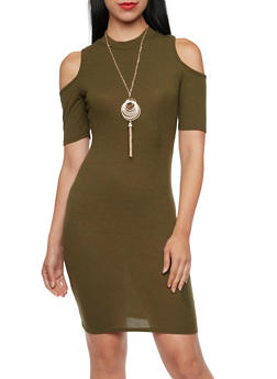 Ribbed Cold Shoulder Dress with Necklace - 3094058750035